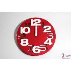 Reloj De Pared Rojo Círculos Con Números Blancos
