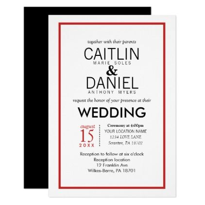 Red And White Simple Border Wedding Invite Wedding Invitations