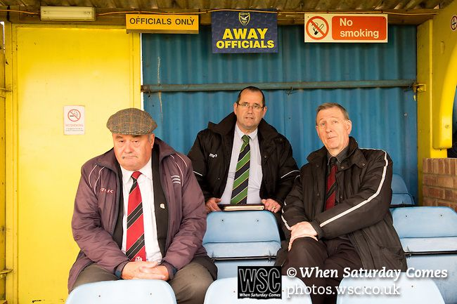 Canvey Island 1 Harrow Borough 0, 17/10/2015. The Frost Financial Stadium, Ryman Premier League. The away officials take their seats for the second half. Canvey Island in yellow play host to Harrow Borough in red in a Ryman Premier League match. The match was won by the home side by 1 goal to 0 and was watched by a crowd of 333. Canvey Island play at their home matches at The Frost Financial Stadium or Park Lane. The ground is a few feet below sea level, making it one of the only football…