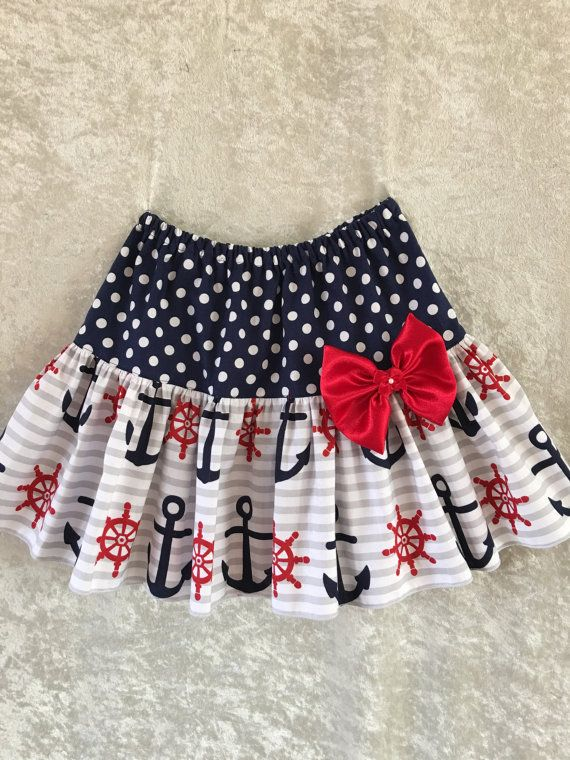 SALEAnchor skirt girls summer skirt Fourth of by RinahsBoutique