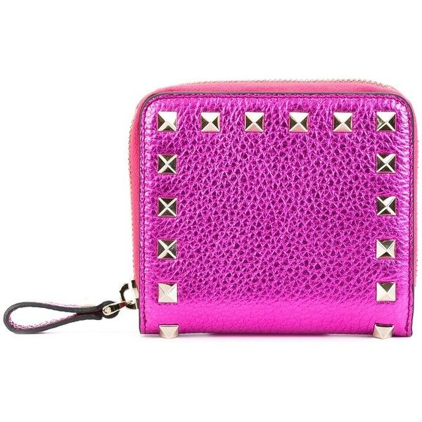 Valentino Garavani 'Rockstud' compact wallet ($490) ❤ liked on Polyvore featuring bags, wallets, pink, snap wallet, valentino wallet, snap closure wallet, snap bag and decorating bags