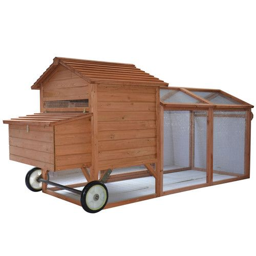 Pawhut Wheeled Tractor Hen House Chicken Coop with Chicken Run
