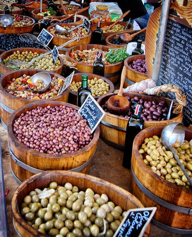 Olives at the Saturday market in Beaune, France. Photograph by Amitié Wines. http://www.amitiewines.com/
