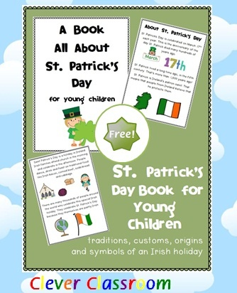 FREE St. Patrick's Day Book - customs, traditions, origins and symbols PDF file A 5 page, free St. Patrick's day book. This book could be a shared book for younger children or an independent book for older hildren.  This book aims to help children understand the origins, customs, traditions & symbols of St. Patrick's Day.   Print, staple and read to your class.  http://www.teacherspayteachers.com/Product/FREE-St-Patricks-Day-Book-customs-traditions-origins-and-symbols