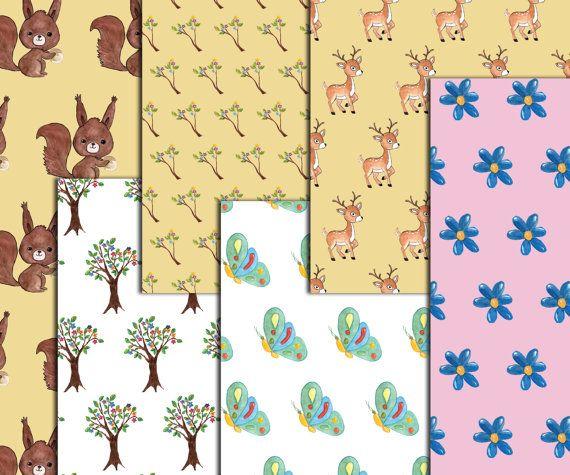 SALE30% bosques animales papeles y gráfico: papeles florales