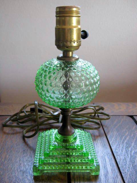 Vintage Depression Glass Green Hobnail Boudoir / depression glass is anything but depressing !!