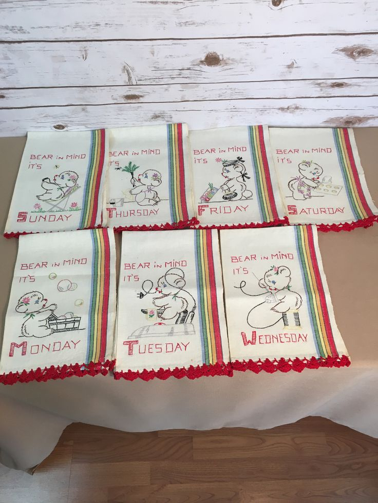 Excited to share the latest addition to my #etsy shop: Bear In Mind Monday Tuesday Wednesday Thursday Friday Saturday Sunday Days Of The Week Vintage 1960's Embroidered Linen Tea Towels