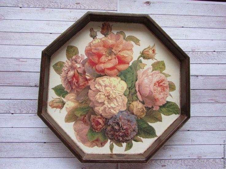 Купить Поднос Винтажные розы - коричневый, подарок, подарок на свадьбу, подарок на любой случай