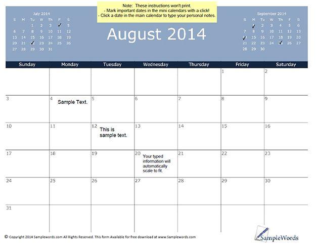 August 2014 Calendar Template