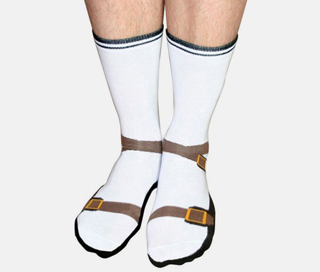 Socks that look like Sandals with Socks- The Ultimate White Elephant Gift Guide: 60 Extremely Unusual Gifts via Brit + Co.