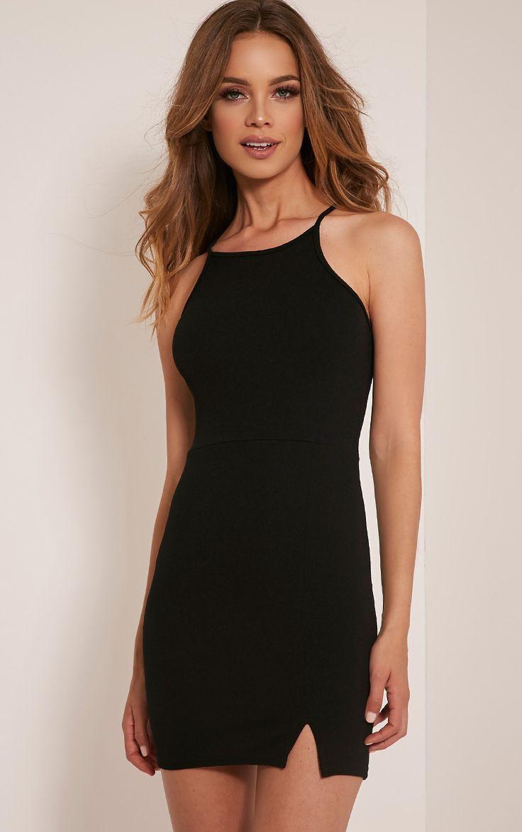 Aniqah Black High Neck Split Detail Bodycon Dress