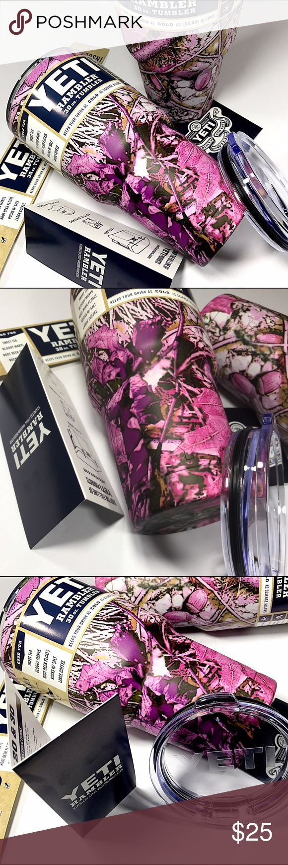 YETI TUMBLERS 30oz, MOSSY OAK PINK CAMO YETI MOSY OAK PINK CAMO    30oz YETI TUMBLER  • Double Wall Vacuum Insulation to Keep your drink Cold. • 18/8 Stainless Steel Durable Kitchen-Grade Steel. • The outside stays dry. No need for a coaster. • Air Tight Seal Heavy duty lid seal locks in the cold. • Keeps Ice Longer twice as long as plastic tumblers. YETI Accessories