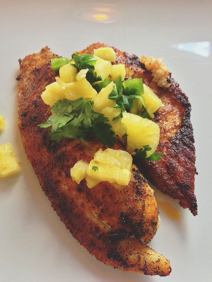 cumin talapia with pineapple cilantro jalepeno salsa. Bonner bits: I liked a lot. Hubby didn't care for spice coating, too gritty in his opinion. I liked the salsa too
