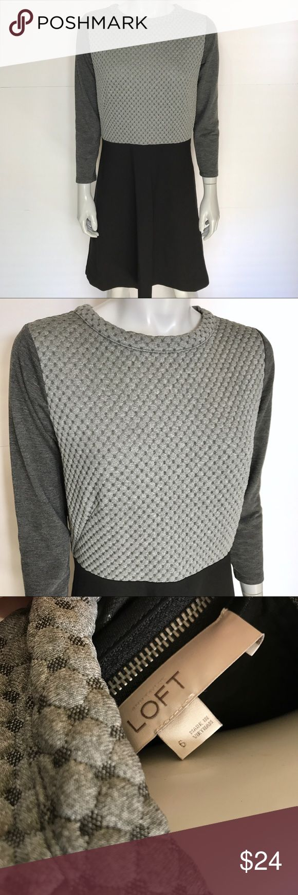 {LOFT} gray & black long sleeve dress Super comfortable neutral color block dress. Nice texture on light gray part. Crew neck dress zips up in back. Soft and stylish dress for many occasions. LOFT Dresses Long Sleeve