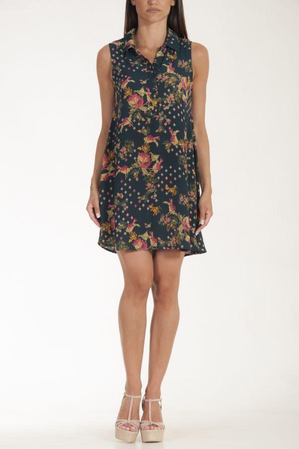 Φόρεμα κοντό με παρτους ώμους navy floral γυναικείο glamorous