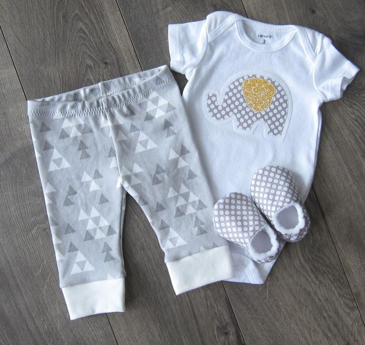 Gender Neutral Baby Clothes Set // Infant Outfit, New Baby Outfit, Newborn Clothes, Baby Clothing // Gray Triangles, Gray Elephant by GingerLous on Etsy https://www.etsy.com/listing/181974825/gender-neutral-baby-clothes-set-infant