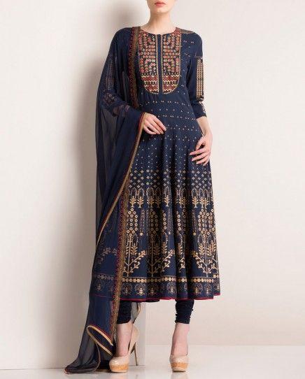 Navy Blue designer Anarkali Suit with Aztec print. #blueanarkali #designeranarkali #anarkali