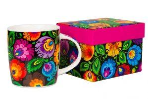 Polish flower folk mug / Kubek w pudełku FOLK – ludowe kwiaty z łowickiej wycinanki – czarny