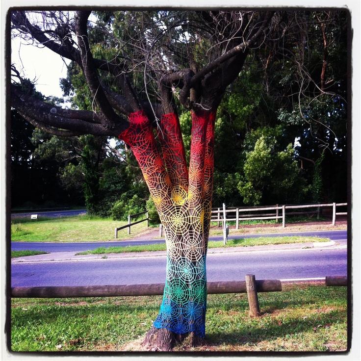 Yarnbombed tree