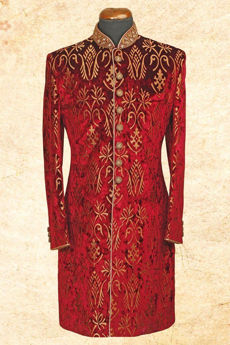 #Maroon fashionable #suede sherwani with bandhgala-IW619