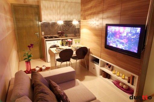 Quitinete decorada. Mais uma vez, apartamentos pequenos requerem simplicidade e estilo. Lindo e aconchegante... :)
