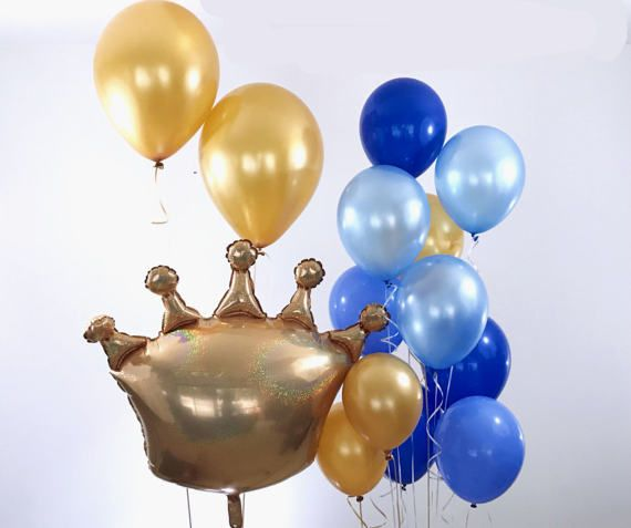 ❤ Prince Balloons ❤ SIZE: Each Crown balloon is 41 inches wide Each Large latex balloon is 18 inches tall Each Small latex balloon is 11 inches tall WHATS INCLUDED: 1 Crown Balloon 2 Large Latex balloons 10 Small latex balloons MATERIAL: High quality foil and latex