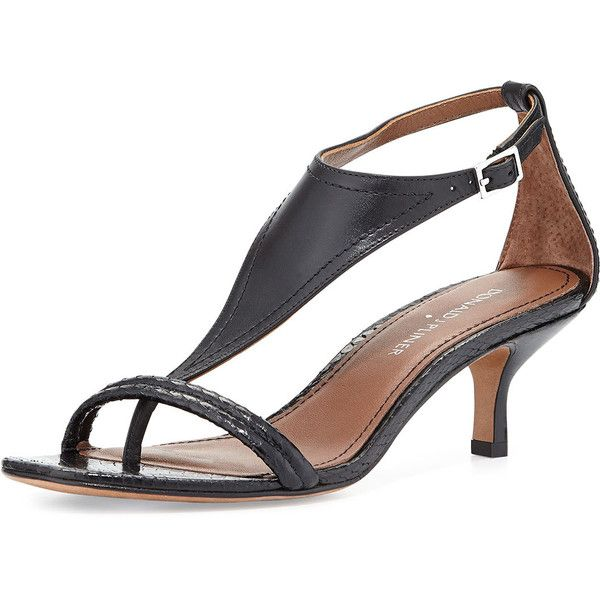 Donald J Pliner Monti Leather & Snake T-Strap Sandal (€110) ❤ liked on Polyvore featuring shoes, sandals, black, leather t strap sandals, leather sandals, black kitten heel sandals, black t strap sandals and mid heel sandals