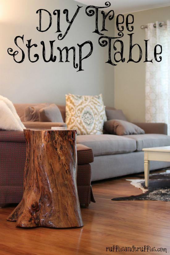Tree stump table DIY. I'm thinking driftwood off the coast, I've seen some beautiful pieces of wood that would work!