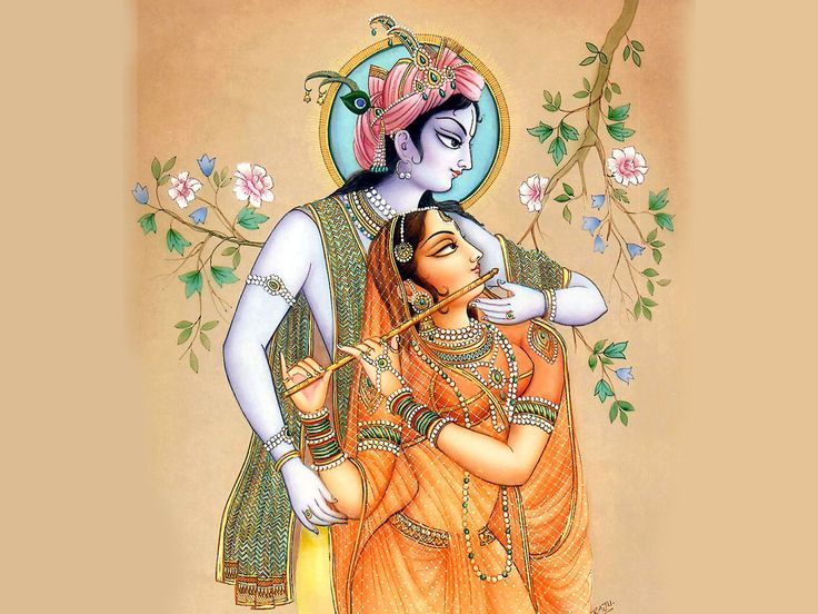 Indian painting : Lord Krishna with his companion Radhe in romantic mood