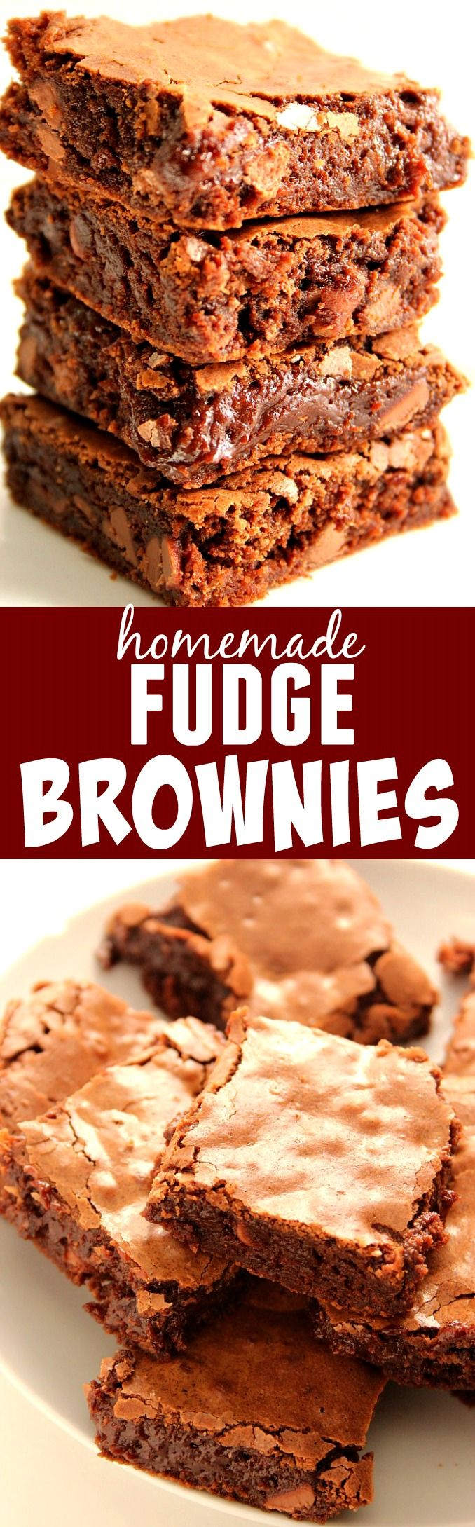 Homemade Fudge Brownies Recipe - the one and only recipe for fudgy brownies you will ever need! Learn the simple trick to get the flaky, crunchy top!