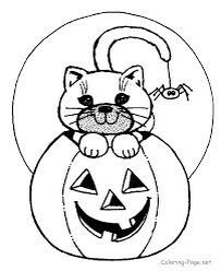 Printable Halloween Coloring Pages Cat On Jack O Lantern Sheets And Pictures