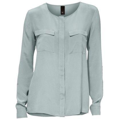 #Seidenbluse mit #Brusttaschen - Modische hellblaue Bluse von Best Connections. Sie ist super edel mit ihrer glänzenden #Seide. - ab 69,90€