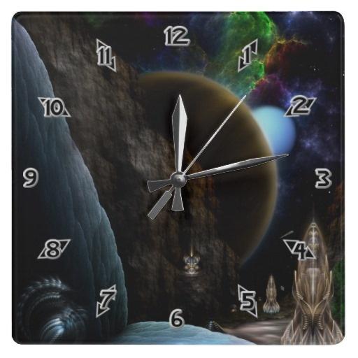 Exploration Of Space Fractal Art Square Wallclock $28.10 - Click Here http://xzendor7.com/xzendor7-wall+clocks.php