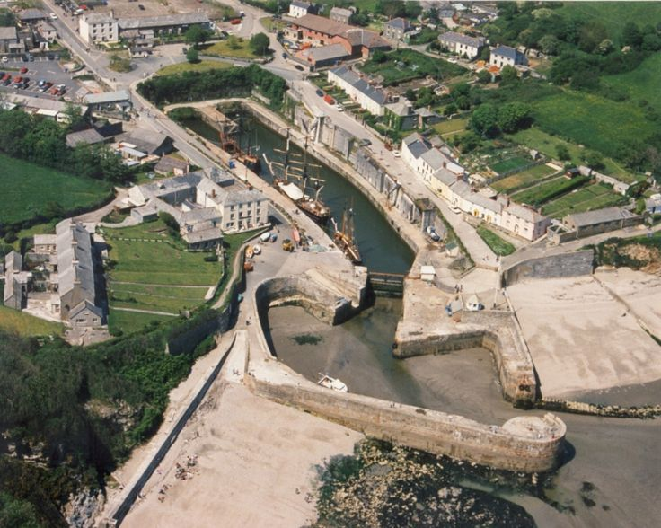 Aerial view of Charlestown Harbour near St Austell in Cornwall Major filming location for many period films including Poldark and The Eagle has landed