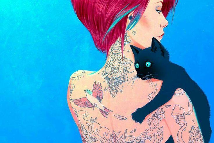 ragazza tatuata con micio nero