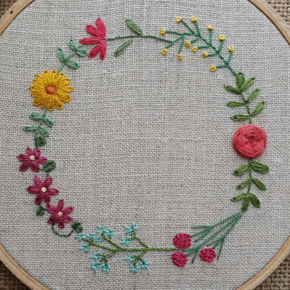 Floral Garland Hand Embroidered Hoop Art 5 by ForestChorusStudio