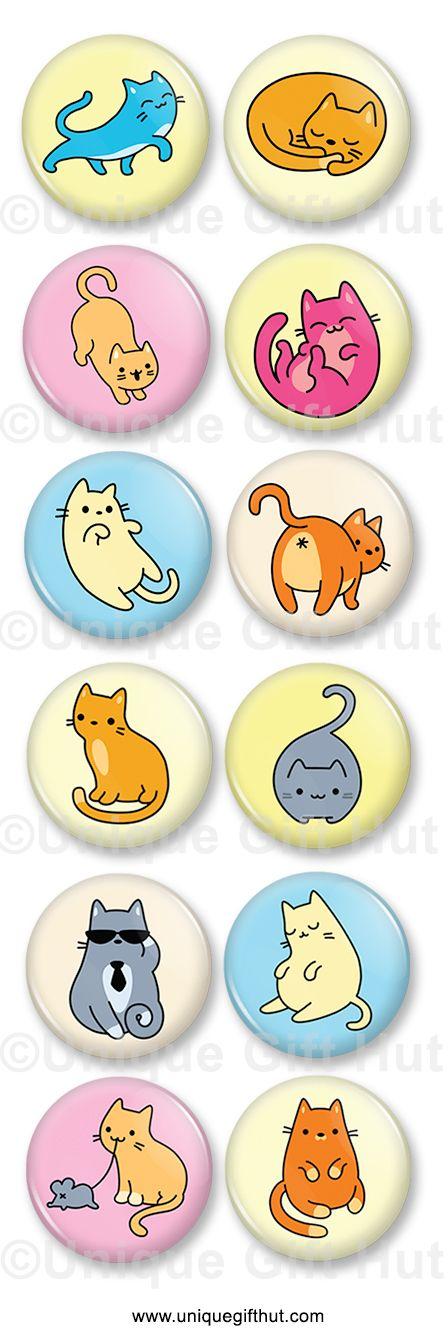 Fun kitten decorative fridge magnets. home and kitchen decor, party favor.