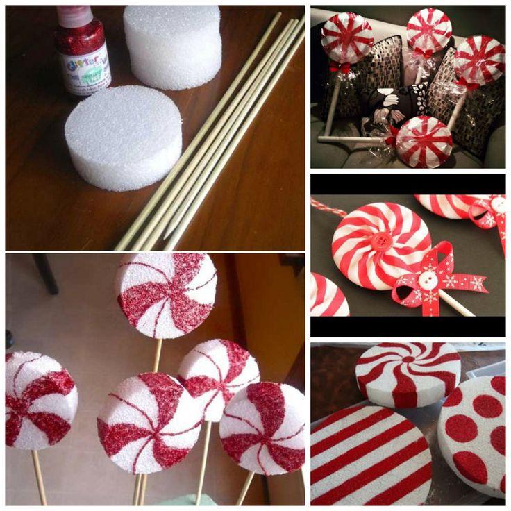 Diy peppermint lollipops decorations christmas for Decoration 6