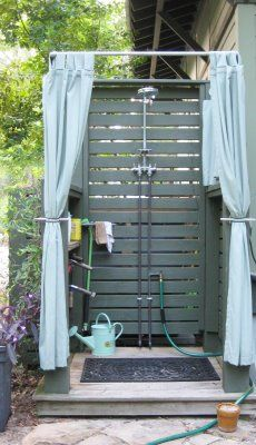 Outdoor Shower !!!! Love These idea's! You could even sand & treat closely gapped pallets for flooring, even the walls. The drainage would be easy to do. Pea gravel, rock, or French type that goes verticle if using a shampoo or soap very often. Anything but a 'green product' would then most likely do some vegetation damage.
