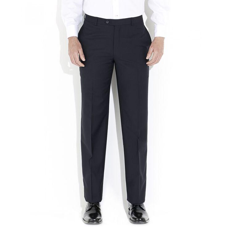 Pantalón Tommy Hilfiger de corte recto en tejido sólido azul sin pinzas bragueta de cierre y cinco bolsillos.
