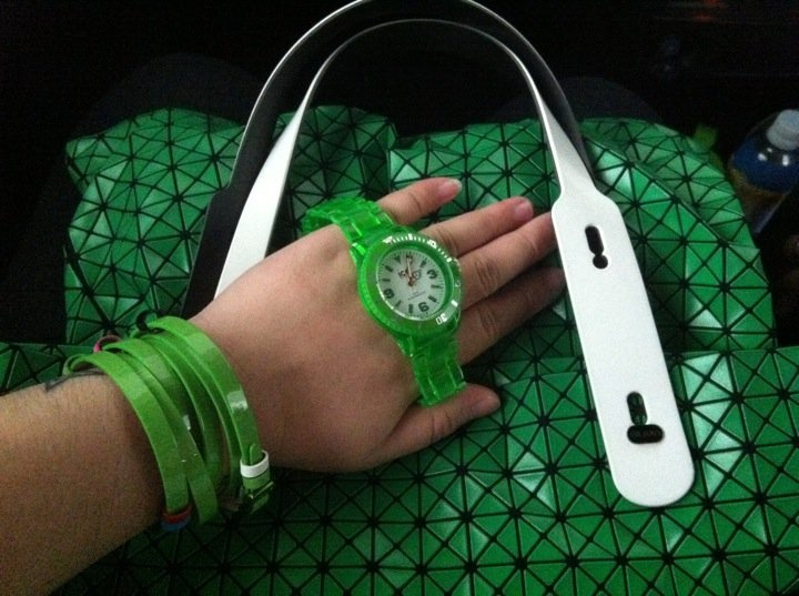 today is green.  #isseymiyake #pleatsplease #baobao #icewatch #swatch #accessories #fashion