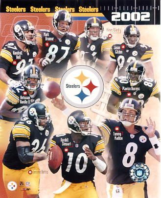 Steelers 2002 Tommy Maddox,Jason Gildon,Plaxico Burress,Hines Ward,Mark Bruener,Kendrell Bell