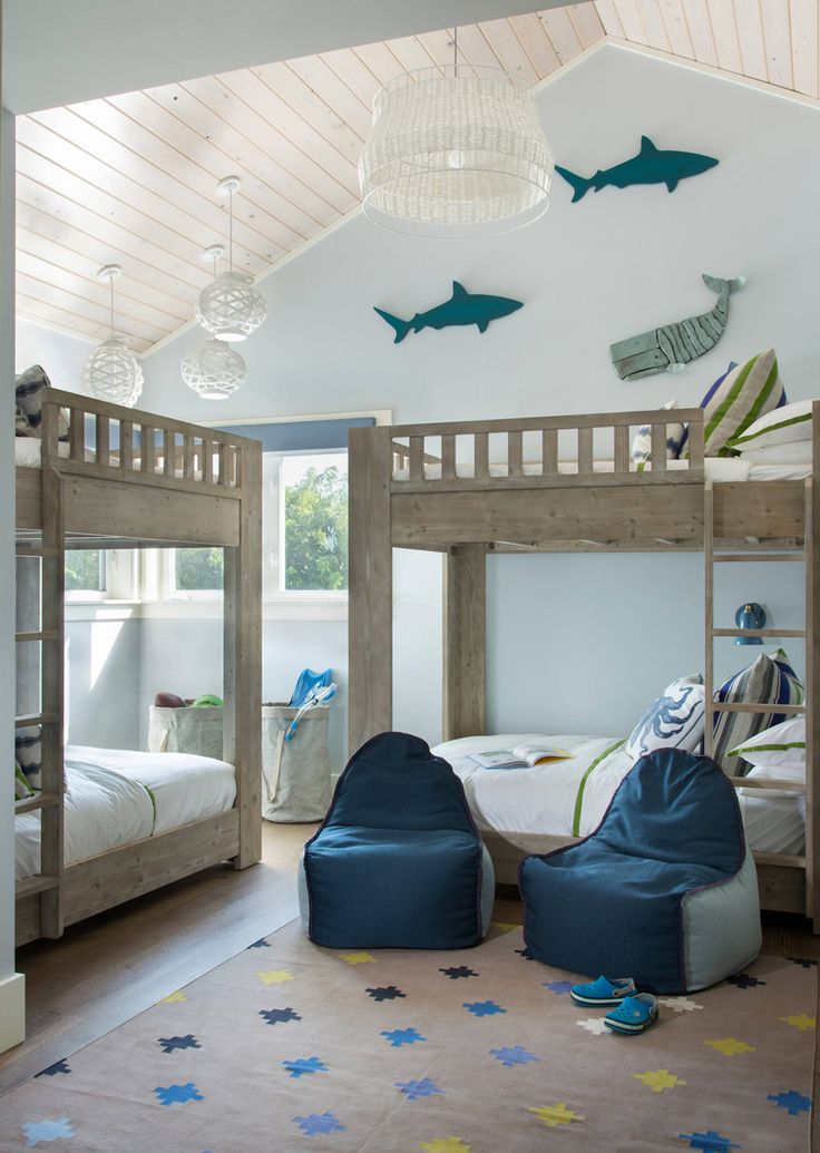blue beach house bunk room