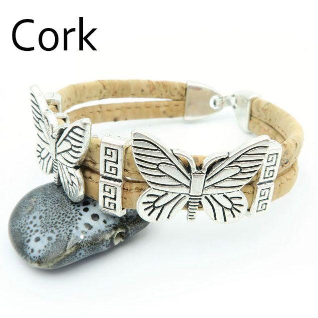 MB Cork butterfly Bracelet Beige women cork  bracelet handmade  Sister Gift, Girlfriend Gift, Womens Cuff   Br-66
