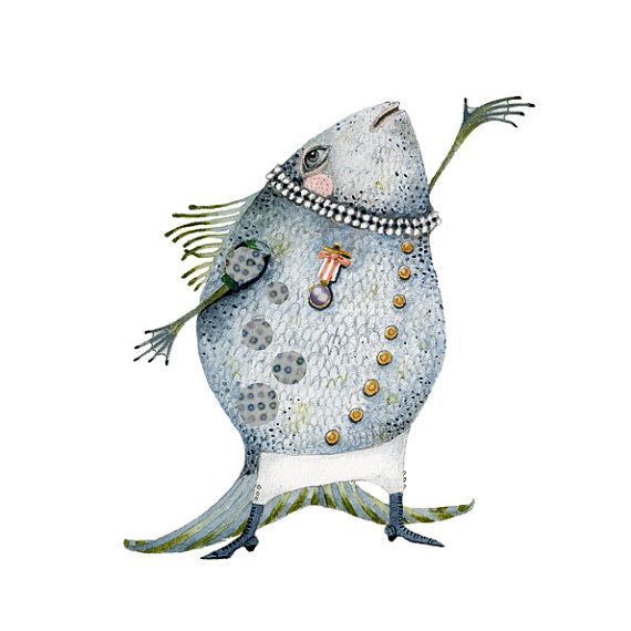 Fish Illustration singing fish Giclee Print by ChasingtheCrayon, £13.00