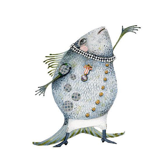 Fish Illustration singing fish Print 8x11 by ChasingtheCrayon