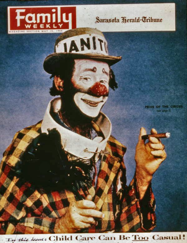"Florida Memory - Copy of the Sarasota Herald-Tribune newspaper's magazine supplement ""Family Weekly"" showing the Joe Steinmetz image of clown Paul Jerome."
