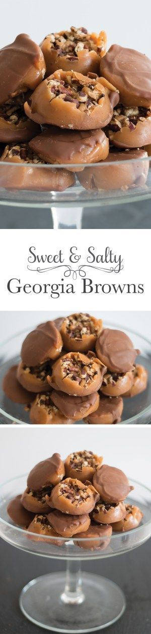 Sweet Georgia Browns: A chewy salted caramel is poured over roasted pecans then topped with a thin layer of rich chocolate.