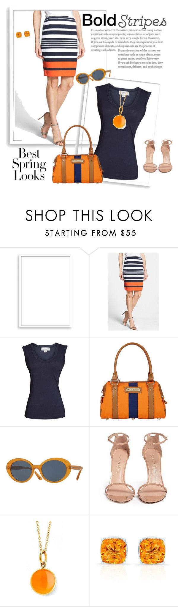 """""""Striped Skirt"""" by melissabradley-1 ❤ liked on Polyvore featuring H&M, Bomedo, MICHAEL Michael Kors, Velvet by Graham & Spencer, Davey's, Oliver Peoples, Stuart Weitzman, Syna, Spring and Blue"""