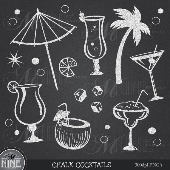 CHALKBOARD COCKTAILS Clipart Chalk Party Clip Art, Instant Download, Luau Martini Margarita Food Drinks Clip art